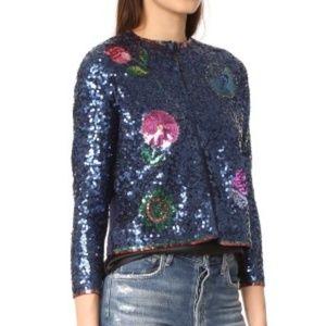 Cynthia Rowley Sequin Intarsia Cardigan Sweater